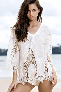 Crocheted V-Neck White Blouse WHITE: Blouses | ZAFUL