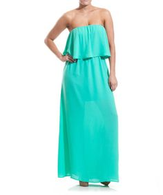 Loving this Coveted Clothing Mint Ruffle Strapless Maxi Dress on #zulily! #zulilyfinds