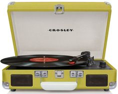 Pam Lime Green Vintage Style Suitcase Record Player
