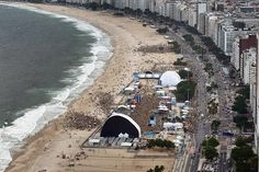 Aerial view of the Fan Fest on the Copacabana, Brazil