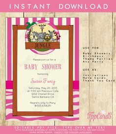 Instant Download Pink Safari Baby Shower Invitations Editable Pdf DIY 5x7 Printable Baby Shower Jungle Theme Invites AUTOFILL enabled Game by TppCardS #tppcards