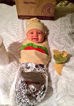 Baby burrito Chipotle costume, Best Halloween costumes for kids, DIY kids costumes, easy kids costumes to make, adorable and cute Halloween costumes for toddlers and infants, Halloween party ideas,