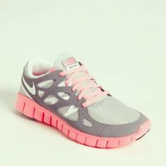Grey and pink nike shoes