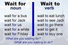 English grammar and vocabulary - Wait to Vs. Wait for English Vinglish, Learn English Grammar, English Writing Skills, English Tips, English Idioms, English Phrases, Learn English Words, English Language Learning, English Study