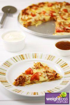 Healthy Pizza Recipes: Gluten Free Tandoori Chicken Pizza. #HealthyRecipes #DietRecipes #WeightlossRecipes weightloss.com.au