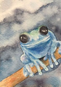 Original watercolor painted on Arches paper with Windsor & Newton, Sennelier, and Daniel Smith paints. Signed, titled, and dated on the back. ACEO size x Watercolor Trees, Watercolor Animals, Watercolor Paintings, Painting Snow, Winter Painting, Frog Drawing, Cuban Art, Frog Art, Painting Inspiration