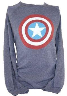 Captain America of the Avengers (Marvel Comics) Mens Pull Over Sweatshirt - Classic Shield Distressed Logo