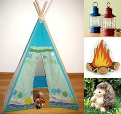 hate the teepee, love the log fire pillow.