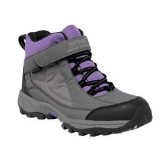 Regatta Great Outdoors Girls Trailspace Mid Junior Walking Boot (US 7) (Gray/Purple). The girls Trailspace Mid Cut Trail Boot provides wet weather protection with ankle support for growing walkers. The sporty uppers use mud and water friendly Hydropel protectant, plus a watertight and breathable Isotex membrane bootee liner. Tough-wearing rubber overlays around the heel and toe help protect their feet while plenty of padding around the collar and tongue make them super comfy to wear. The...