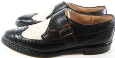 Scotch Par Men Wingtip Monk Shoes Size 12 Two-Tone Black White.  RRR 62 #ScotchPar #MonkWingtip