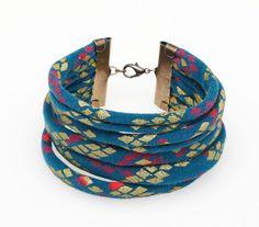 Hand-Printed String Cuff Bracelet by thiefandbandit on Etsy