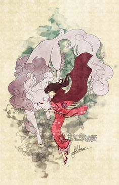 Stylized Inuyasha Fanart poster with Kagome and Sesshomaru.  Size: 11x17'' Printed on: Glossy card stock paper.  Artist signature upon request!  *Actual product will not have watermark stamped over image.