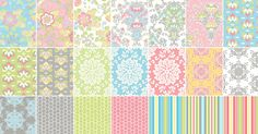 """""""Priscilla"""" 24 Piece 2.5"""" Floral Fabric Strips Floral Jelly Roll by Riley Blake"""