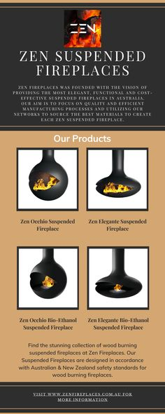 Find the stunning collection of wood-burning suspended fireplaces at Zen Fireplaces. Our Suspended Fireplaces are designed in accordance with Australian & New Zealand safety standards for wood-burning fireplaces. Suspended Fireplace, Wood Burning, Fireplaces, Zen, Safety, Collection, Design, Fireplace Set, Security Guard