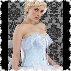 """Cinderella Corset Top w/white lace & pearls NWTs💖 Perfect for a Cinderella Halloween costume or simply stunning to wear just with light jeans for a hot date! Romantic & pretty baby blue corset with white lace and pearl dangles. This corset has steel and poly boning and will bring your waist in to a lovely hourglass silhouette! Corset has lacings that makes it adjustable to a range of sizes.  Large fits bust 36""""-38"""", waist 28""""-30 and hips 38""""-40"""".  New with tags! 💖💖💖 Tops"""