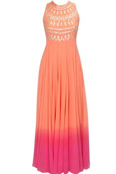 Peach and pink ombre gota patti embroidered gown available only at Pernia's Pop-Up Shop.