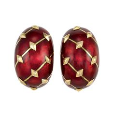 Pair of Gold and Red Paillonne Enamel Bombe Earrings, Tiffany & Co, Schlumberger, France   18 kt., the bombe mounts applied with red paillonne enamel, accented by slender diagonal gold lines and gold diamond-shaped plaques, signed Tiffany & Co., Schlumberger, with French assay marks and maker's mark, approximately 22.2 dwt. With signed felt case.