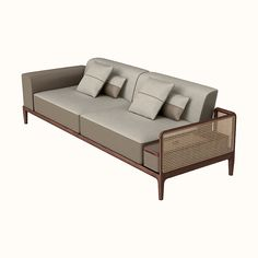 Hermes sofa in Canaletto walnut with cane work on the left side. Comes with two large pillows and two small pillows in fauve Taurillon H leather and cinnamon fabric Ikea Furniture, Furniture Styles, Living Room Furniture, Modern Furniture, Furniture Design, Furniture Buyers, Furniture Websites, Antique Furniture, Outdoor Furniture