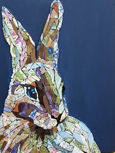 Billedresultat for stained glass mosaic hare Paper Mosaic, Mosaic Tile Art, Mosaic Artwork, Mosaic Crafts, Mosaic Projects, Mosaic Glass, Glass Wall Art, Stained Glass Art, Window Glass