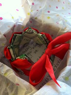 Money gift idea. :) Had fun making these with the kids for grad. gifts!