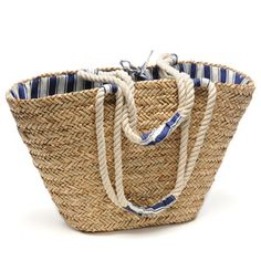 Large Anchor Rope Bag in Blue from Roberta Roller Rabbit Anchor Rope, Straw Bag, Buy And Sell, Money, Beach, Summer, Stuff To Buy, Fashion, Moda
