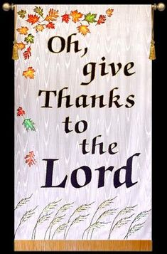 Colorful Thanksgiving Banner with Fall leaves and Wheat for church wall