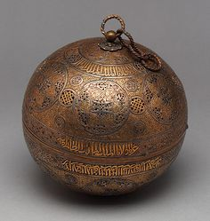 Incense burner, end of 13th or beginning of 14th century; Mamluk  Damascus, Syria  Brass, inlaid with gold and silver