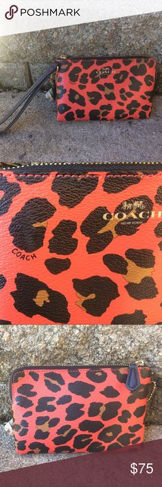 NWOT Coach wristlet wallet fits iPhone 6  authentic Coach wallet in discontinued cheetah leopard print watermelon. A really vibrant, orange-red statement piece. Strap allows you to wear it on your wrist or you can clip it into a purse. NEVER USED! It was a gift from my sister but I already have a wallet. Retailed for $180 so you're getting a HUGE discount! Really cute piece, a must-have for a girl who loves leather! 2 pockets for credit cards, one large compartment for phone or whatever…