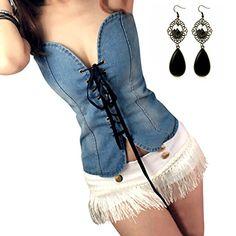 Sitengle Sexy Damen Denim Washed Schleif Cowboy Weste Armellos Jeansweste Straße Stilvoll Rückenfrei Leibchen Bluse Top Vest