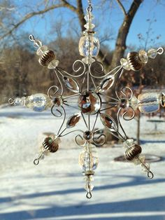vintage glass bead snowflake--maybe combine with clear/frosted stained glass?...patina white FB