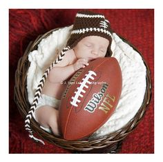 newborn hat photography prop football ear flap cap. $18.00, via Etsy.