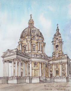 Torino. Italy. Watercolor. Pen. Graphic. Sketch design.