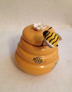 honey poy jars   HONEY POT Beehive Shaped Ceramic Miel Jar with Bee Wooden Dipper Stick ...