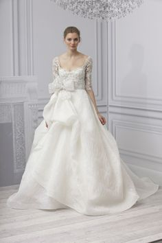 Dress Monique Lhuillier bodied white silk embroidered tulle and organza skirt with textured.