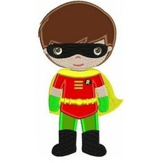 Instant Download Cute Robin's Little Brother (hands out) Superhero Machine Embroidery Applique Design