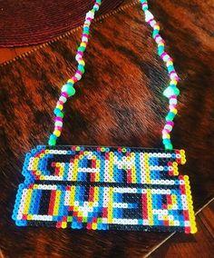 GAME OVER glitchy perler kandi necklace > > Pony Bead Patterns, Kandi Patterns, Perler Patterns, Beading Patterns, Stitch Patterns, Perler Bead Art, Perler Beads, Rave Gear, Kandi Bracelets