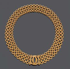 "GOLD-HALSBAND, CARTIER.Gelbgold 750, 116g.Modell Penelope Double-""C"". Sportlich-elegantes Halsband m"