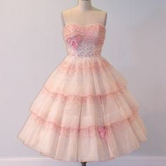 1950s Prom Dress, 50s Strapless Floral Embroidered Organza Formal Wedding Party Dress, Full Skirt Sweetheart Bust, Vintage Cupcake Dress XS. $225.00, via Etsy.