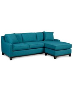 Keegan Fabric 2-Piece peacock Sectional Sofa | macys.com Back on sale $699 90/66/30 h. Chaise reverses sides. 4.6/5 also charcoal. Fabric linen look but thicker. Poly chenille but no nub.