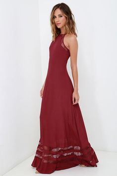 Lulus Exclusive! The Spellbound and Determined Wine Red Lace Maxi Dress is delightfully enchanting and devilishly sexy! A relaxed fit, sleeveless bodice is topped by an apron neckline (decorated with sheer lace), and is supported by adjustable spaghetti straps. Lightweight woven fabric continues into the elegant maxi skirt that is accented with stripes of sheer floral lace, making a beautiful and unique silhouette. Hidden zipper at side.