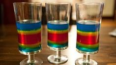 Wiggly, colorful, alcoholic dessert gelatin shots that pack a visual and flavor punch. 6 tall multilayered shots