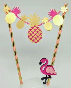 Topper de bolo - Tropical / Flamingos