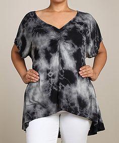 Look what I found on #zulily! Black & White Tie-Dye V-Neck Hi-Low Top - Plus #zulilyfinds