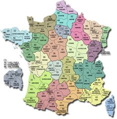 Map of France's departments (search a town, a zip code or a city on this map...)