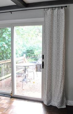Curtains Over Sliding Glass Door... Held Up With Curtain Clips. Extended  Beyond