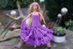 """Barbiekleid mit """"Blüten-Perlen"""" - lila/violett von Sabisilke's Kreativecke auf DaWanda.com"""