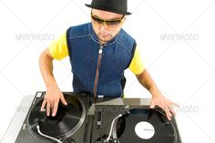 Portrait of smart deejay spinning turntables. http://photodune.net/item/vynil-disc-player/360571?WT.ac=item_more_thumb&WT.z_author=Pressmaster