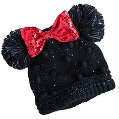 Minnie Mouse Knitted Ear Hat for Girls Minnie Mouse Toys, Mickey Mouse And Friends, Mickey Ears, Mouse Ears, Baby Hats Knitting, Knitted Hats, Minnie Maus Silhouette, Baby Kostüm, Baby Girls