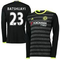 babf8cc2c300ee Michy Batshuayi Chelsea adidas Youth 2016 17 Away Long Sleeve Jersey -  Black Adidas Workout