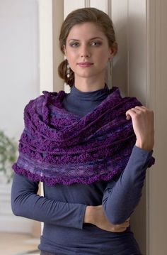 """Free Pattern Wrap and Go Shawl with new yarn """"Filigree"""" - Red Heart"""